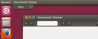 Evince menubar Ubuntu