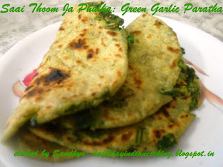 recipe for making green garlic paratha, indian flat bread