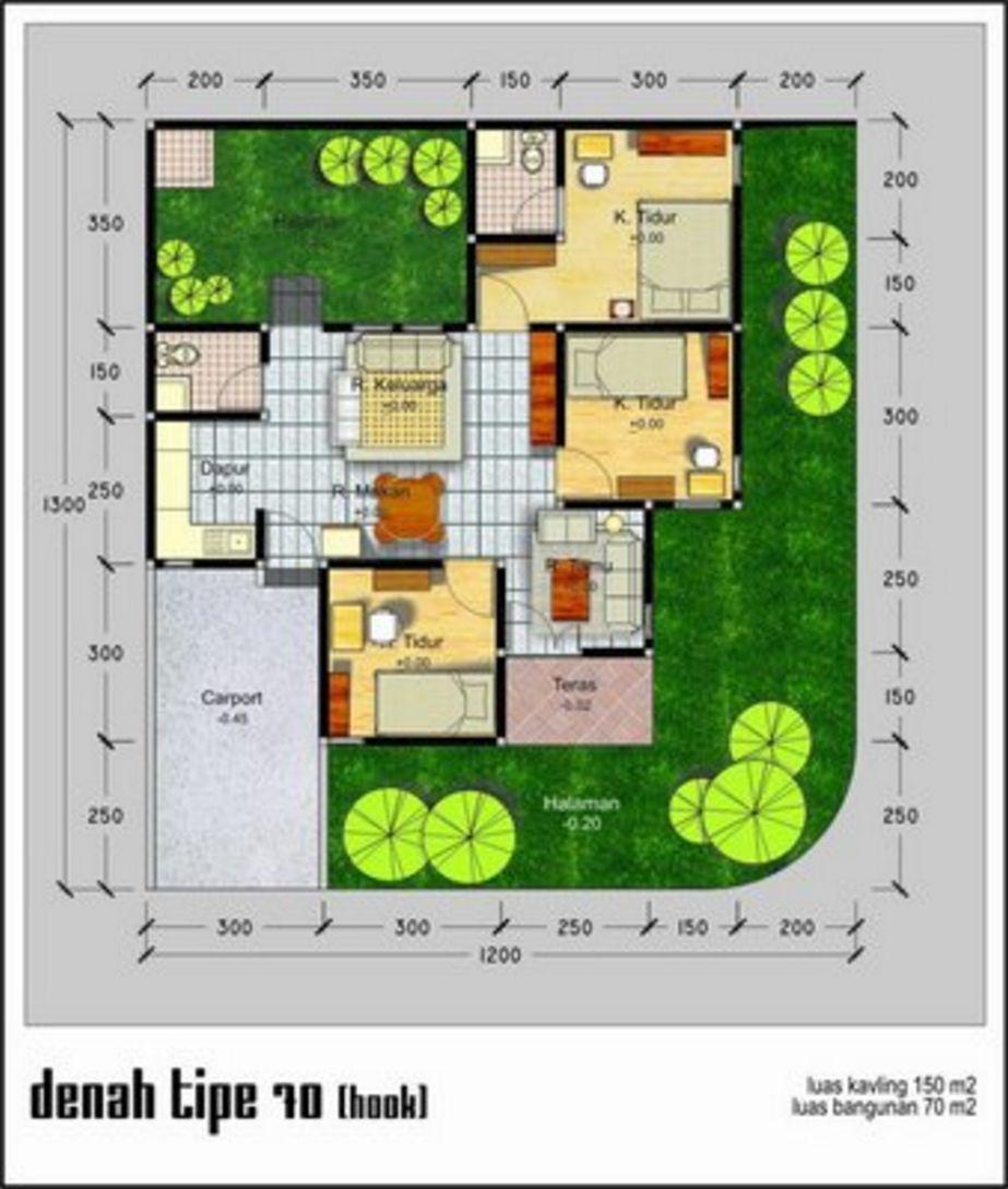 gambar denah rumah minimalis type 70 kreatif