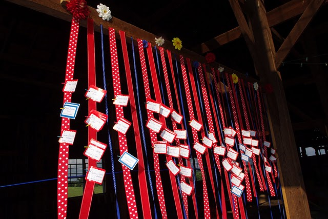 colorful hanging ribbons hung from the wooden rafters inside the barn