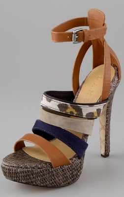 Colorblock Raffia Platform Sandals