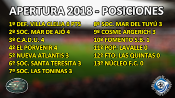 LIGA DE LA COSTA - POSICIONES