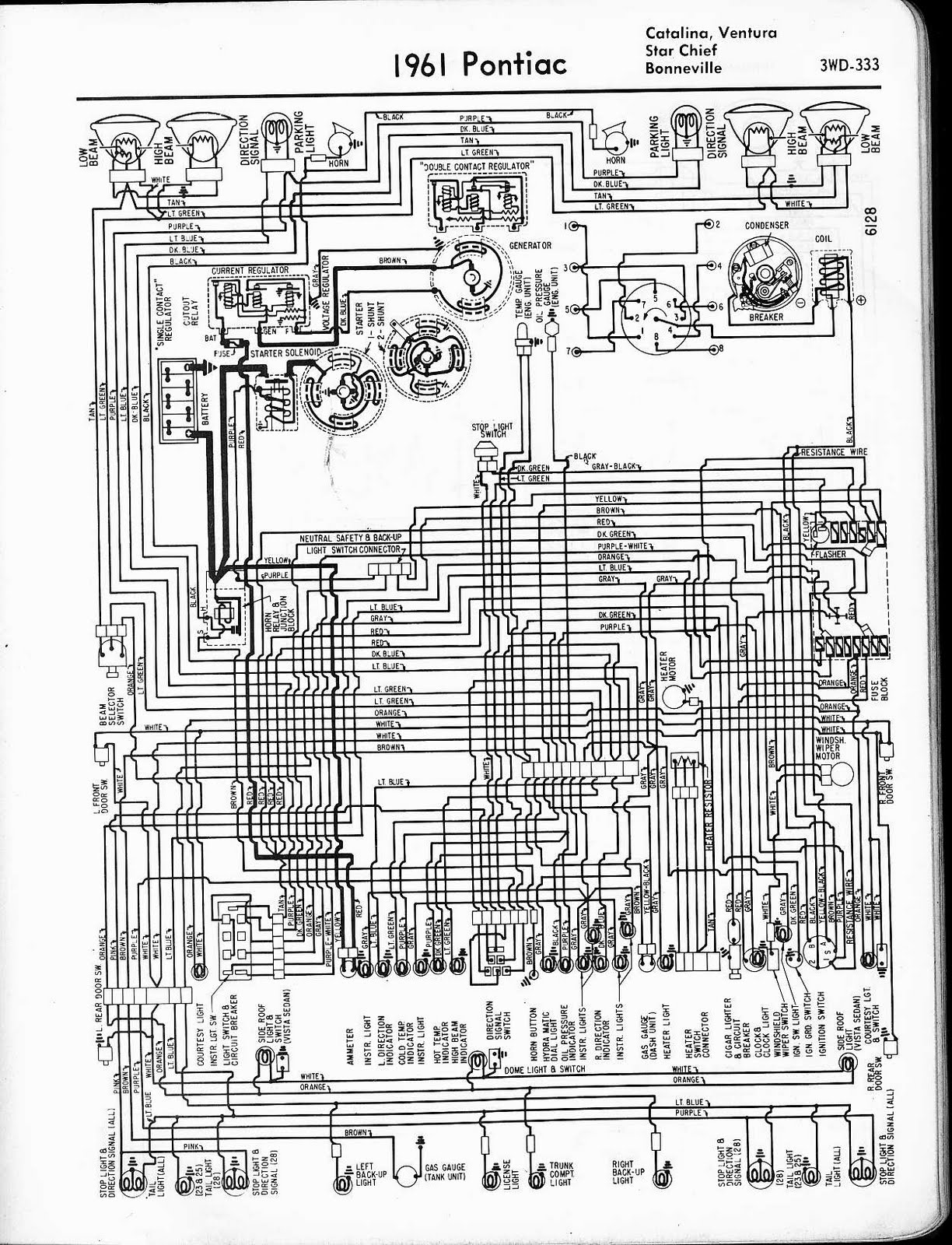 Free Auto Wiring Diagram  1961 Pontiac Catalina  Ventura  Star Chief  And Bonneville Wiring Diagram