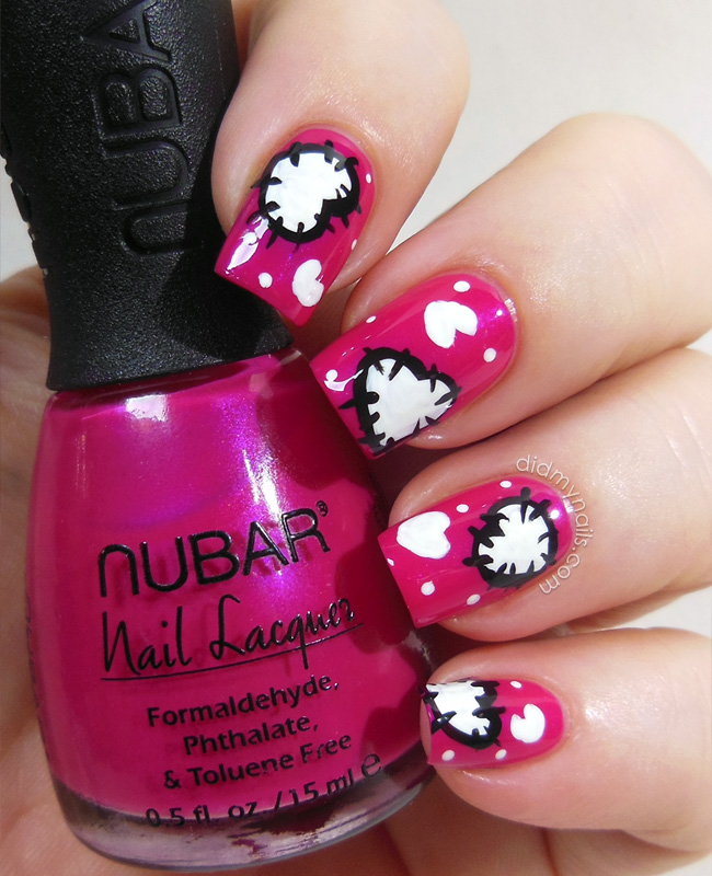Valentine patchwork hearts nail art