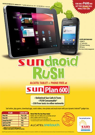 Sundroid Rush Alcatel Tablet + Phone Free At Sun Plan 600
