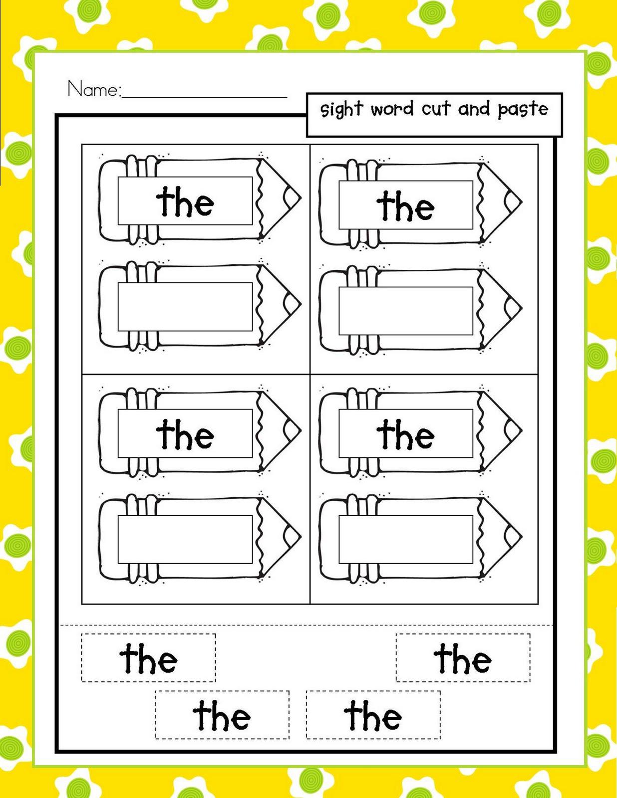 Kindergarten Sight Word Worksheets SightWordsGamecom