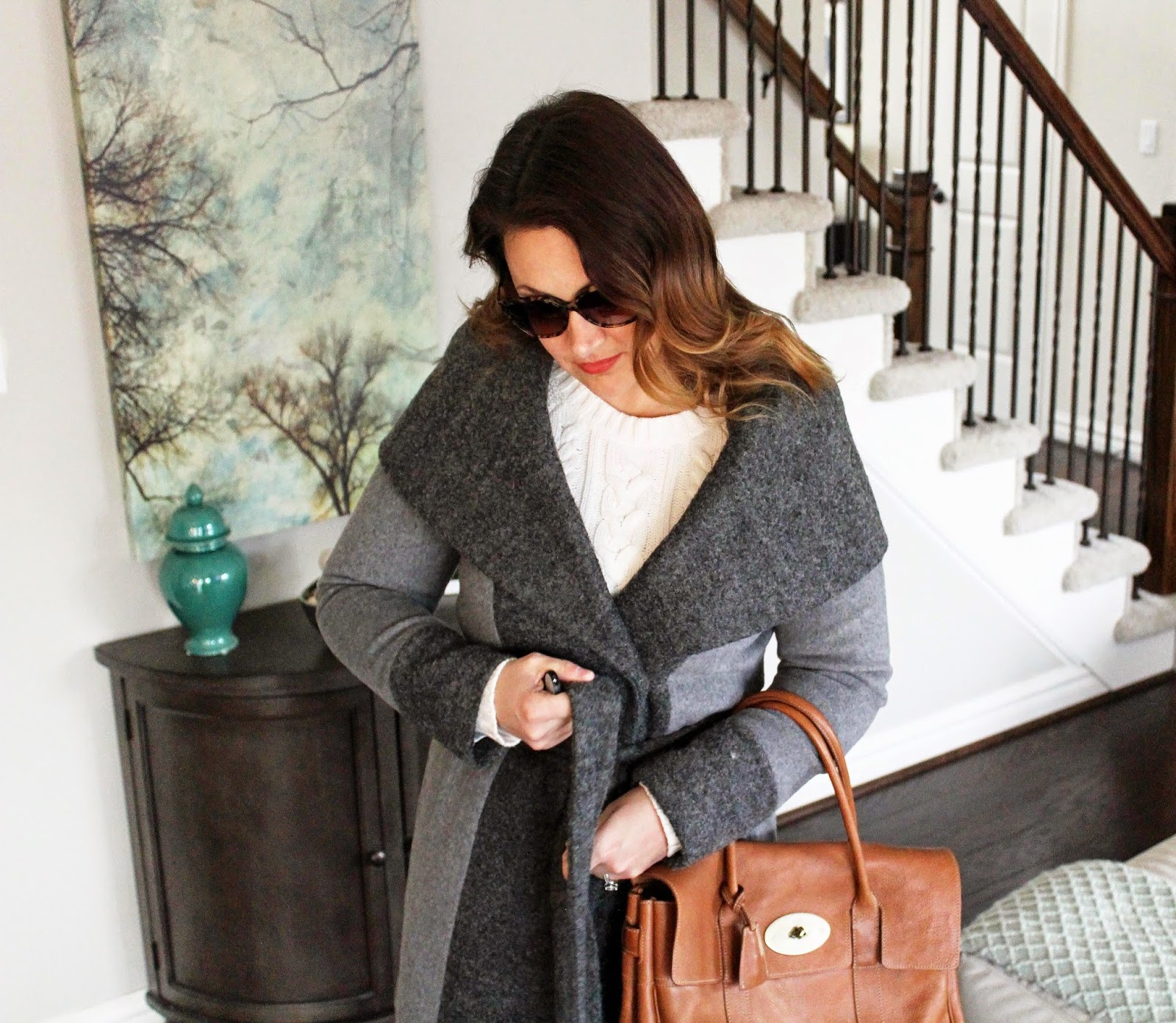 Gray Coat, Calvin Klein, Large Collar, Mulberry Bayswater, Reina Frye Booties, Gucci Sunglasses, Old Navy Boyfriend Jeans