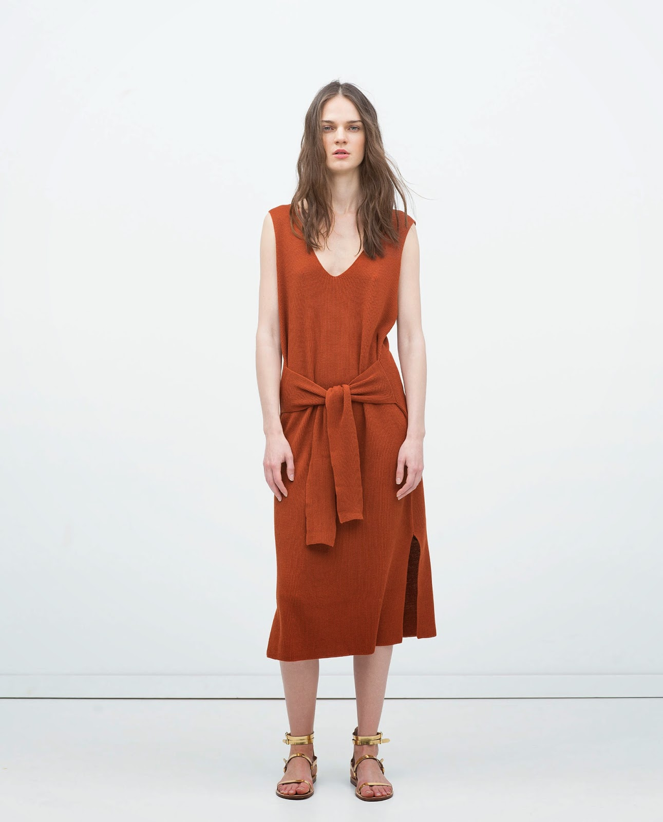 zara knot dress, zara dark orange dress,