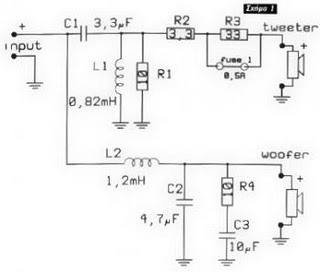 Schematic 2 Way Speaker Crossover on wiring diagram for amp and speakers
