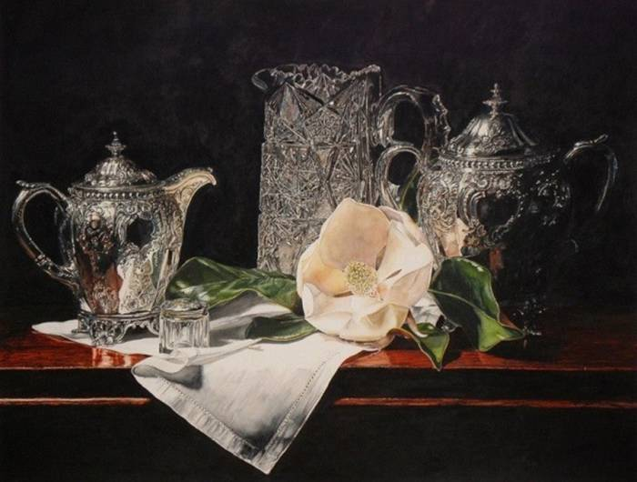 Laurin McCracken «Crystal», Silver and magnolia blossom.""
