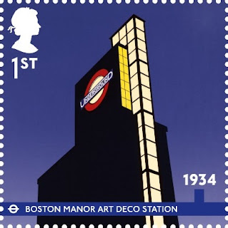 1st class London Underground stamp - Boston Manor Station.
