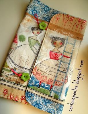 Capa de livro e estojo em  tecido, the sweet life