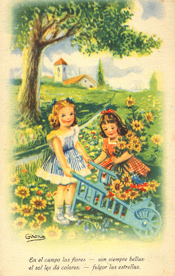 postal retro dibujo niños
