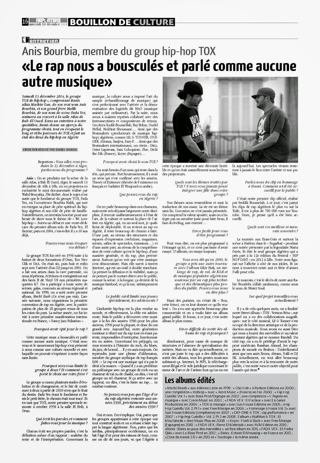 REPORTERS RAp Algerien TOX
