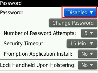 Mematikan password BlackBerry