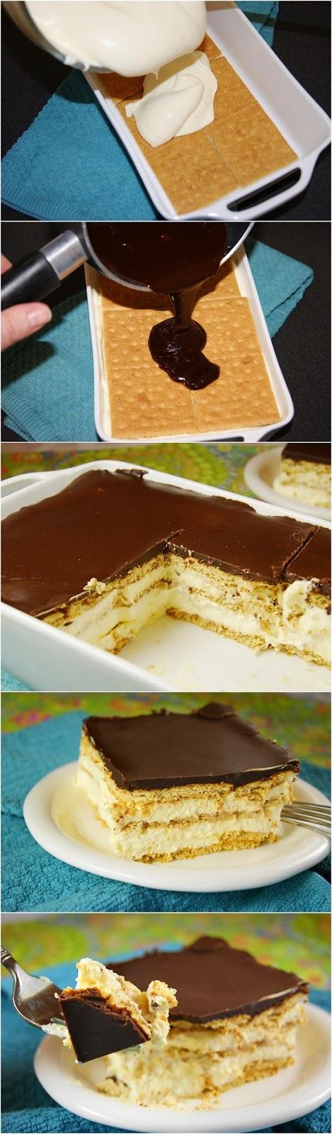 No Bake Chocolate Peanut Butter Eclair Cake