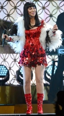 Cher in her sixties-style outfit on her 'Dressed To Kill Tour'