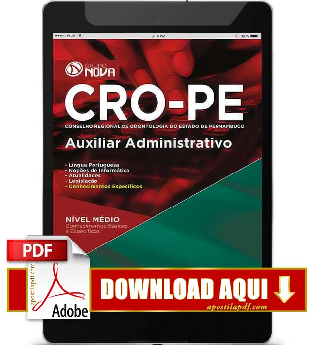 Apostila CRO PE 2015 PDF Download Auxiliar Administrativo