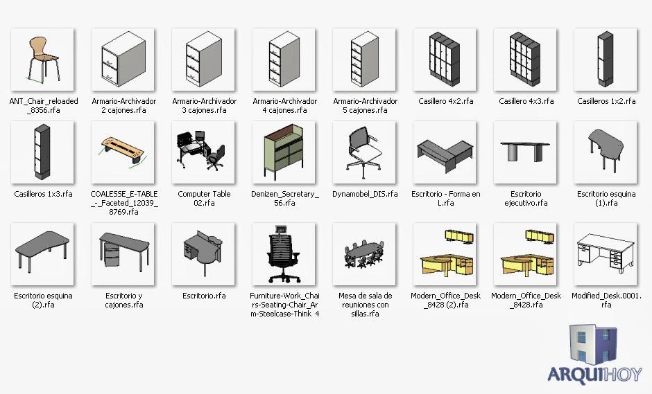 Familias de oficina para revit arquihoy for Muebles de oficina en autocad 3d gratis