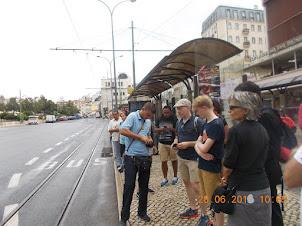 "The Queue for ""TRAM N0 28"" at ""Martim Monez"" in Lisbon."