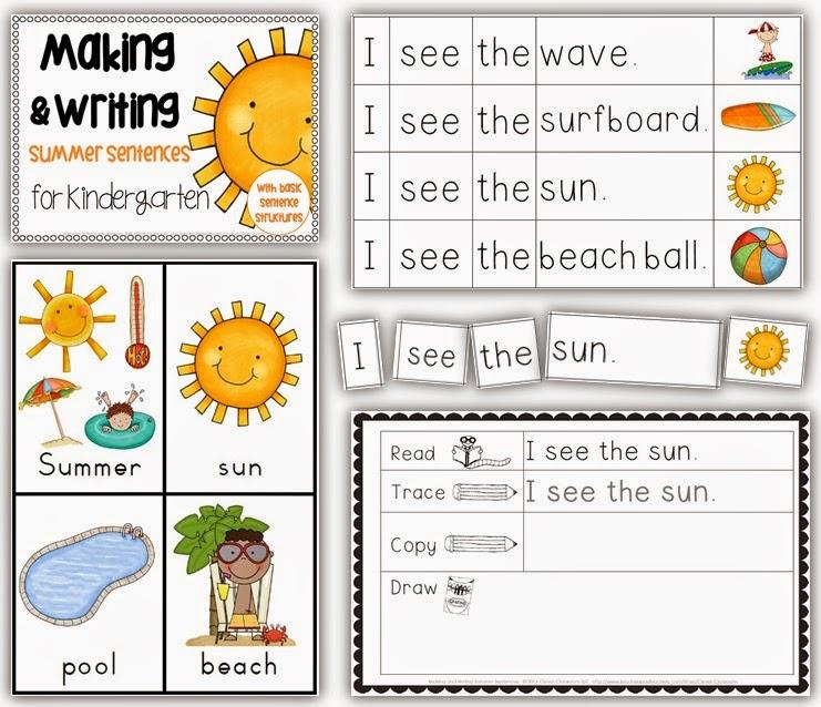 Making and Writing Summer Sentences for Kindergarten {vocab & sentence work}