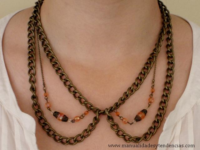 Como hacer collares babero de cadenas