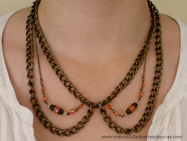 DIY Collar cuello Peter Pan de cadena / Peter Pan collar chain necklace.