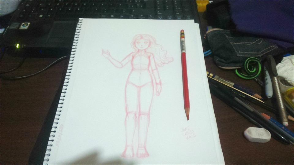 Dibujo hecho con lápiz rojo