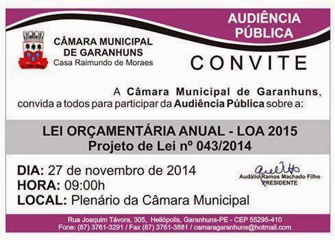 CÂMARA DE GARANHUNS DEBATE LOA/2015 EM AUDIÊNCIA PÚBLICA