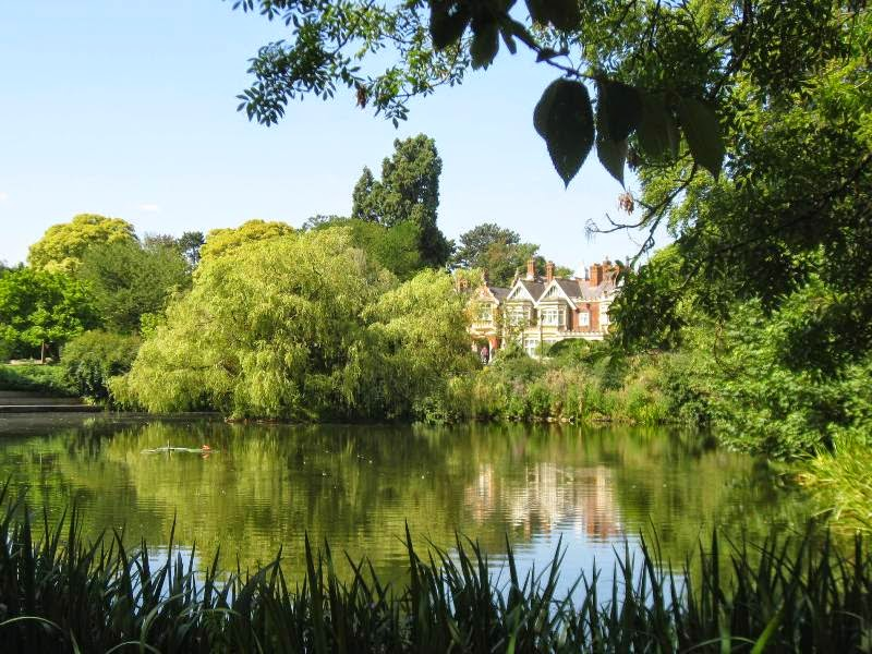 View of Bletchley Park mansion across the lake