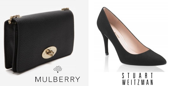 Catherine, Duchess Of Cambridge's MULBERRY Bayswater Clutch and STUART WEITZMAN Power Shoes