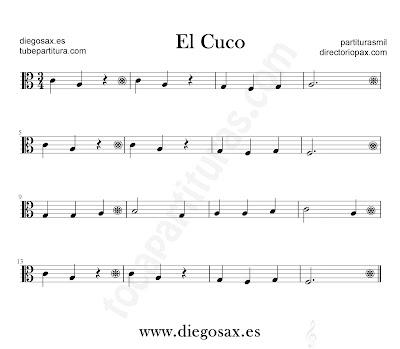 El Cuco partitura para viola en clave de Do