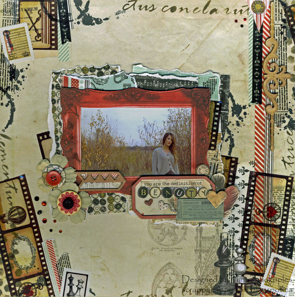 You Are The Definition of Beauty Scrapbook Page by Lynn Shokoples using BoBunny Star Crossed Collection