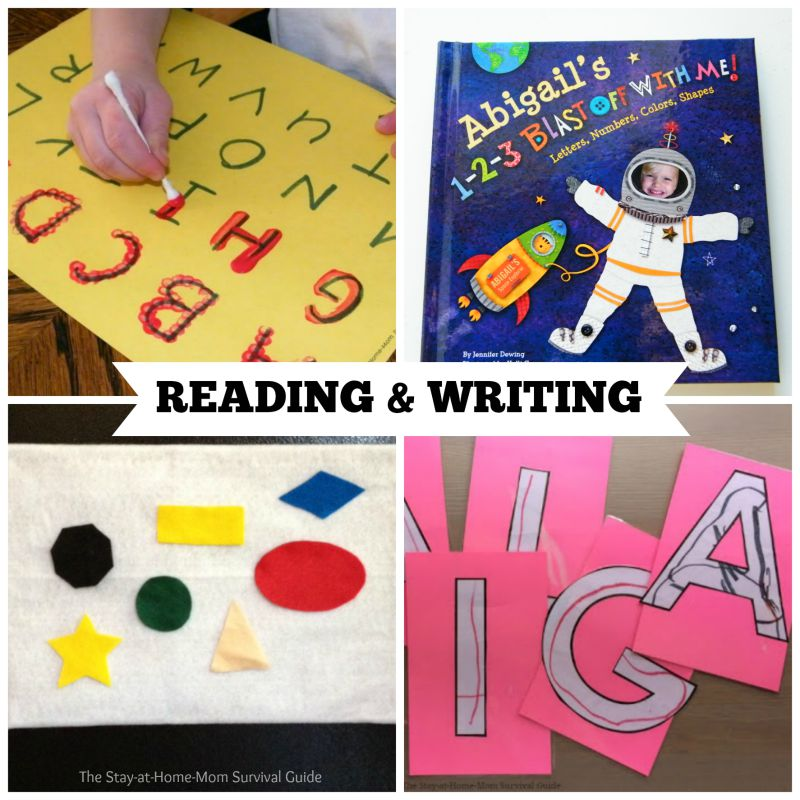 40 activities for preschool at home the stay at home mom survival activities for preschool that teach reading and writing skills these are great preschool activities for publicscrutiny Gallery