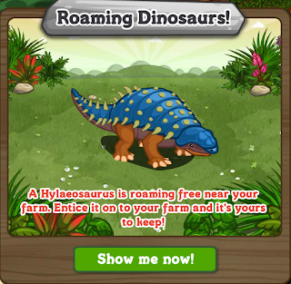 FarmVille Roaming Dinosaur Stage 3 Entice a Hylaeosaurus Dinosaur