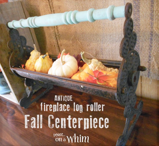 An antique Log Roller Upcycled as a Fall Centerpiece from Denise on a Whim