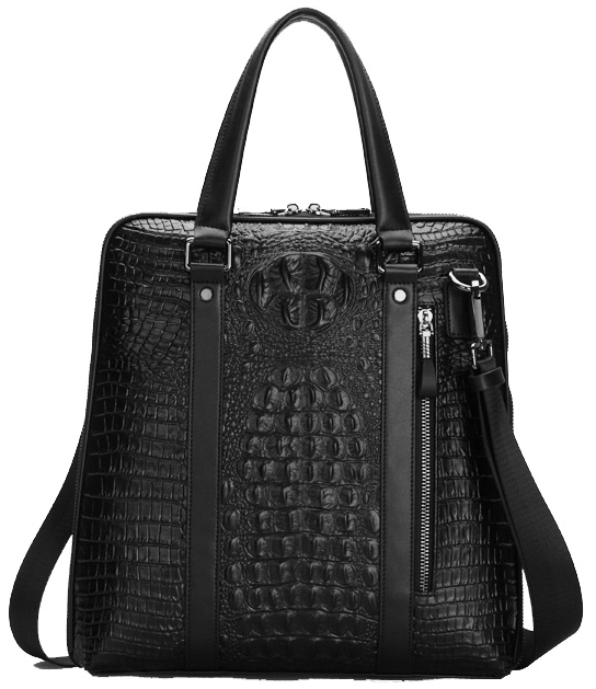 Gentleman Crocodile Pattern Luxurious Laptop Messenger Black Bag