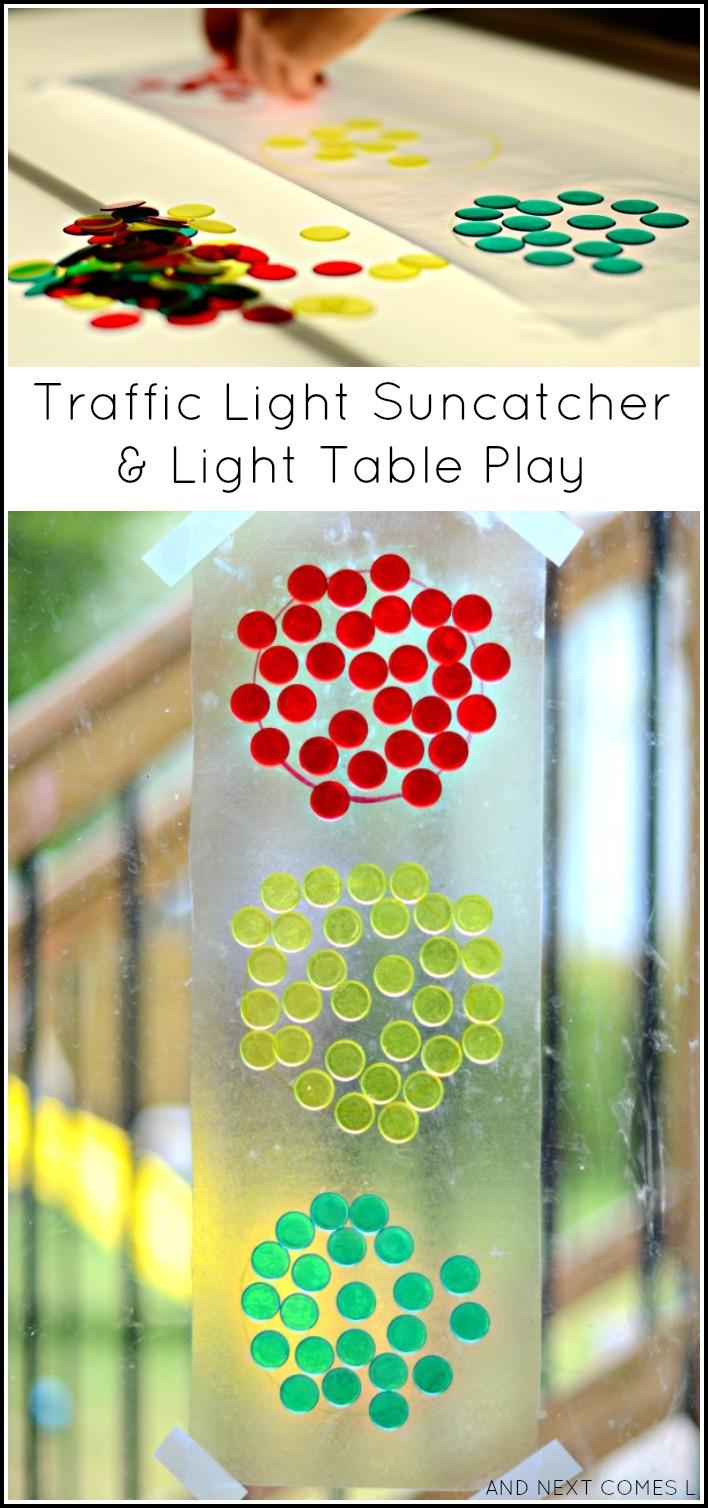traffic light suncatcher u0026 light table play light u0026 reflections