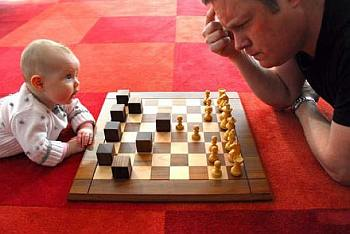 ojciec, dziecko, gra, szachy