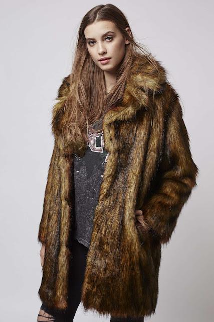topshop brown fur coat, oversized brown fur coat,