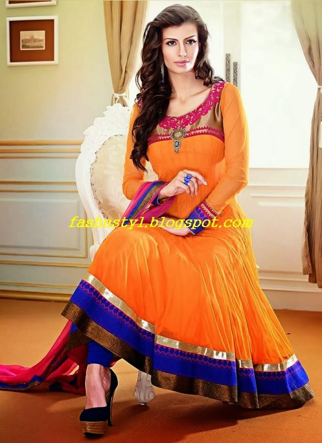Anarkali Frocks Gorgeous Fancy Wedding Bridal Wear Dresses 2014