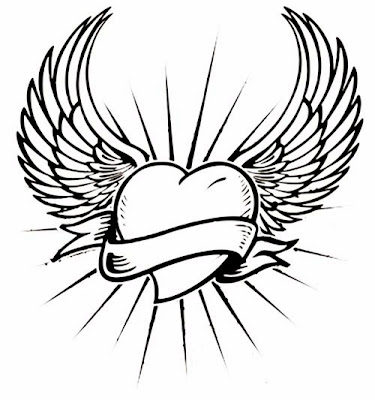 Angel Wings heart and banner tattoo stencil