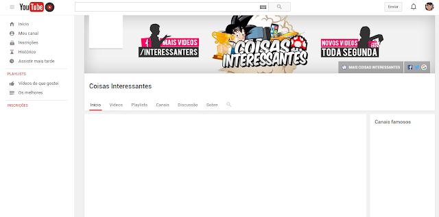 Capa do canal no youtube