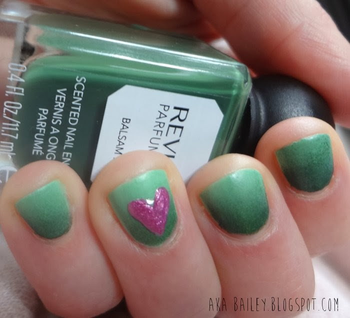 Green ombre nails using Revlon's Parfumerie polish in Balsam Fir