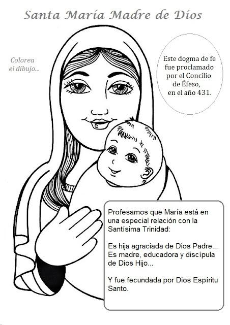 PARA COLOREAR: Santa María, Madre de Dios