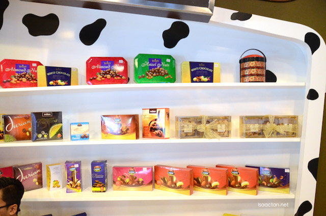 A showcase of local chocolate products at the Chocolate Museum