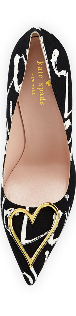 kate spade new york  lava love fabric pump, black/cream