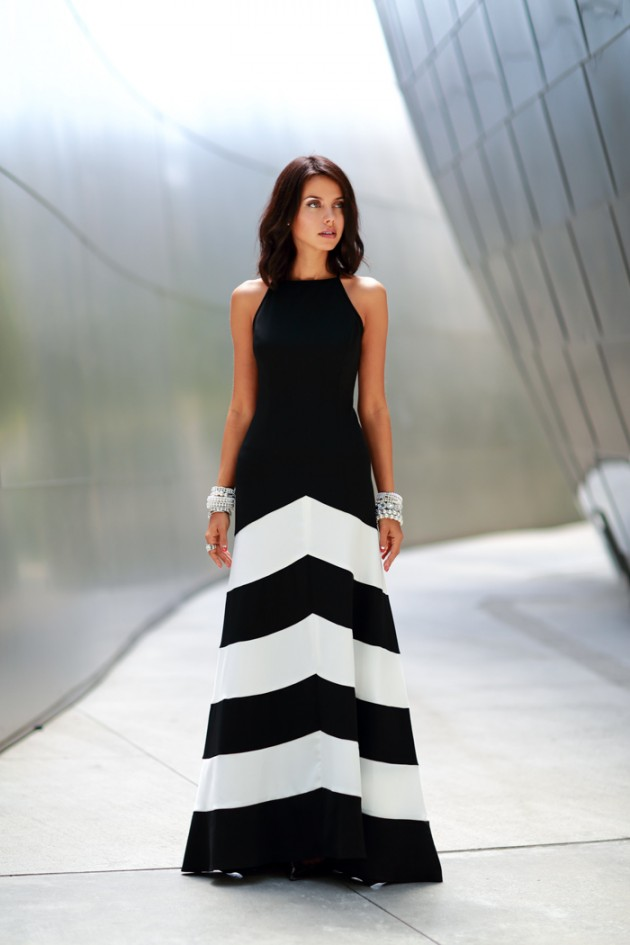 Vestido longo preto e branco casamento