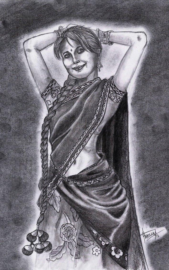 Indian Village Girl Drawing