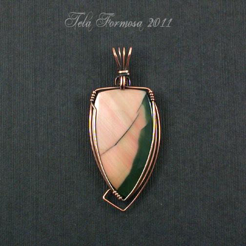 Artisan Art Deco Style Designer Pink Green Imperial Jasper Pendant